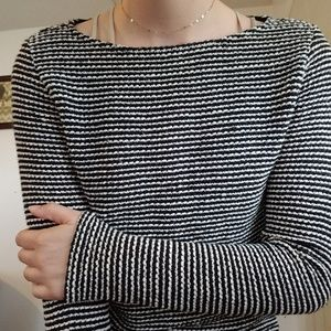 H&M Black and White Striped Fitted Sweater